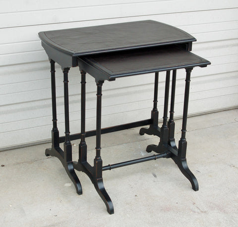 Antique Nesting Tables with Leather Top