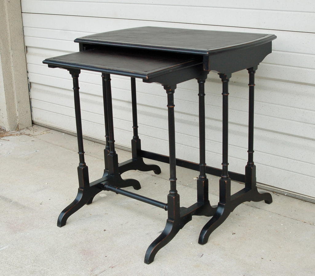 Nesting Tables Antique Nesting Tables With Leather Top Repeat Offenders Inc