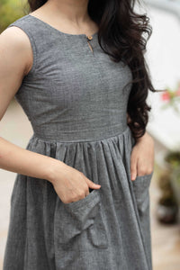 Meghana Grey Mangalagiri Dress