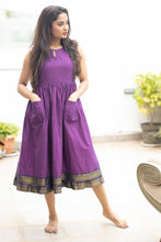 Load image into Gallery viewer, Meghna Purple Mangalagiri Dress