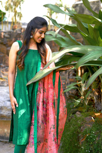 Anvi Green and Orange Unstitched top and dupatta