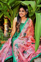 Load image into Gallery viewer, green colour smooth material dress with orange colour printed dupatta having green boarder.good material with nice colour combo.