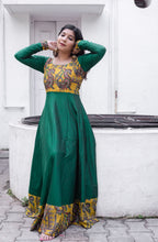 Load image into Gallery viewer, Oviya Green & Yellow kalamkari Dress