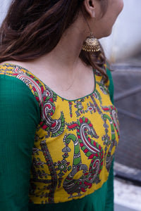 Oviya Green & Yellow kalamkari Dress