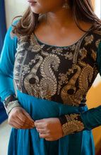 Load image into Gallery viewer, Oviya Blue & Black kalamkari Dress