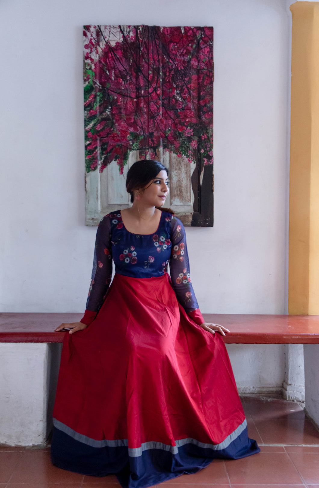Damini Navy blue and Maroon red