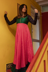kanika green and pink bandini long dress with full sleeves