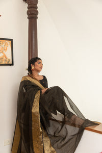 Saatvika Black Unstitched - Set of Top and Dupatta