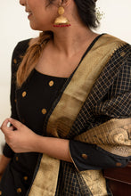 Load image into Gallery viewer, Saatvika Black Unstitched - Set of Top and Dupatta