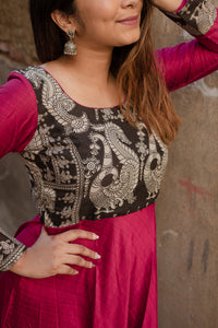 Oviya Pink & Black kalamkari Dress