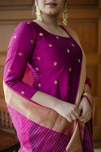 Saatvika Magenta Unstitched Set of Top and Dupatta