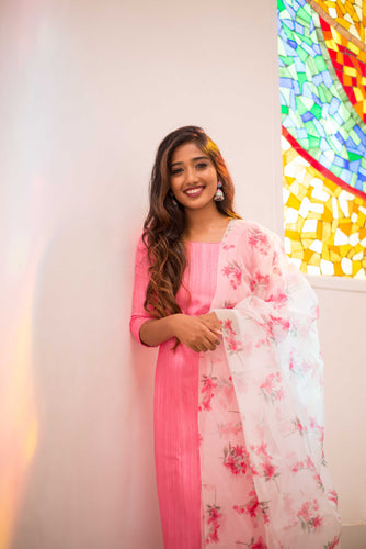 Mithra Pink Kurti and White Dupatta