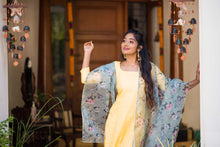 Load image into Gallery viewer, Mithra Yellow Kurthi and Organza Dupatta
