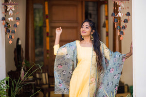 Mithra Yellow Kurthi and Organza Dupatta
