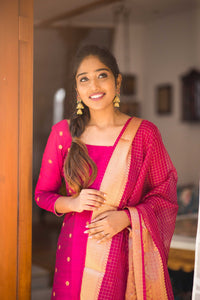saatvika rani pink top and dupatta with grand pattu design