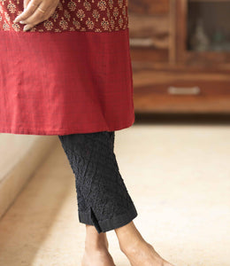 Embroidered stretchable Black Pant