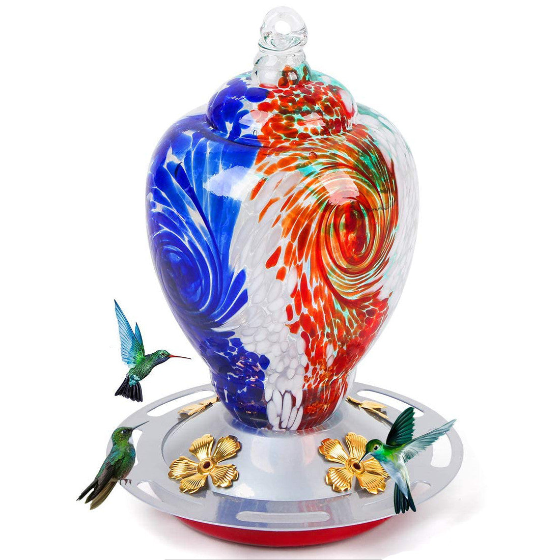 Hand Blown Glass Hummingbird Feeder Autioyea Tricolor 28 oz.