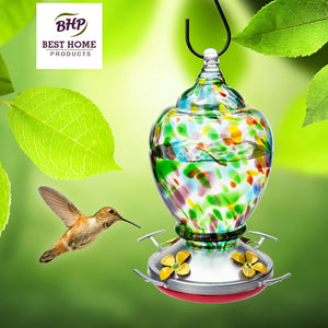Best Home Products Hand-Blown Glass Hummingbird Feeders with Perch Autumn Impressions