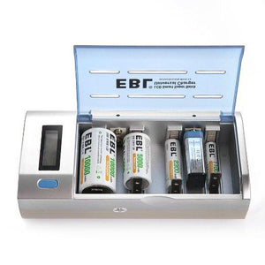EBL Universal Charger for Rechargeable Batteries Type AA / AAA / C / D Ni-MH Ni-Cd