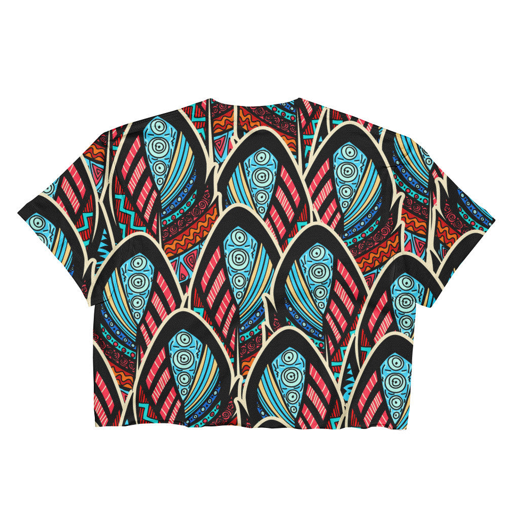 Ladies Crop Top - Abstract Feathers