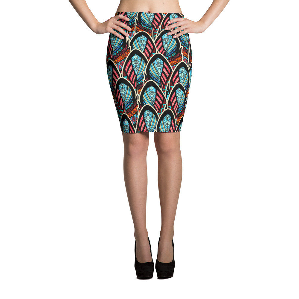 Pencil Skirt - Abstract Feathers