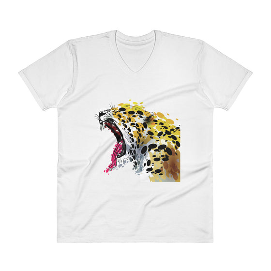 Men's V-Neck T-Shirt - Abstract Jaguar Yawning