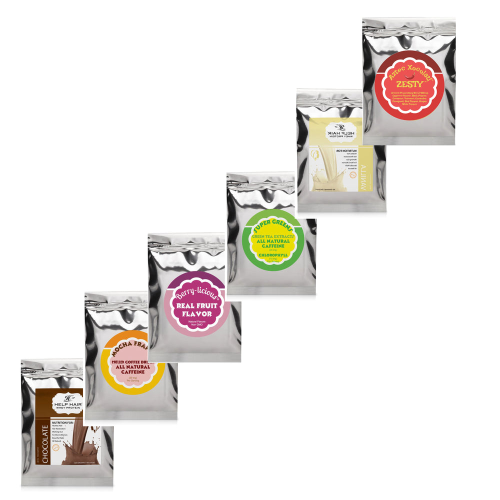 Help Hair Whey Protein - 6 Flavour Sample Pack