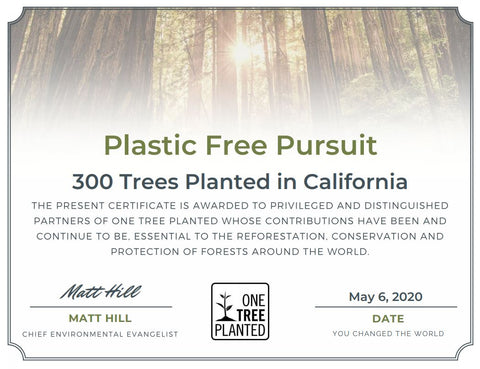 one tree planted certificate for 300 trees planted in california in april 2020.