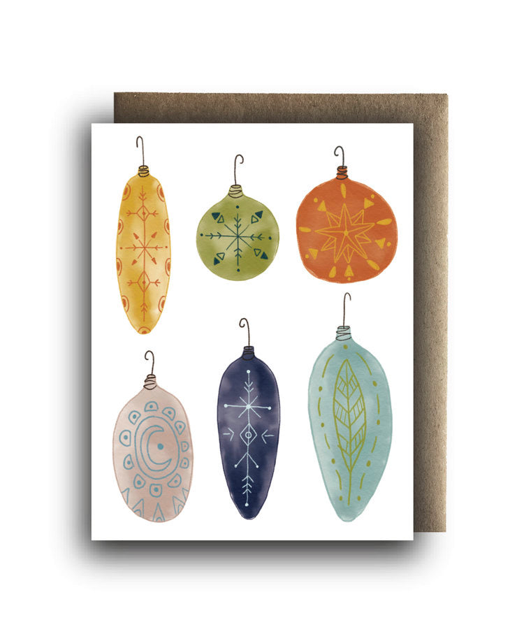 Holiday Ornaments Recycled Paper Card