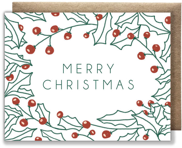 Merry Christmas Holly Recycled Paper Card
