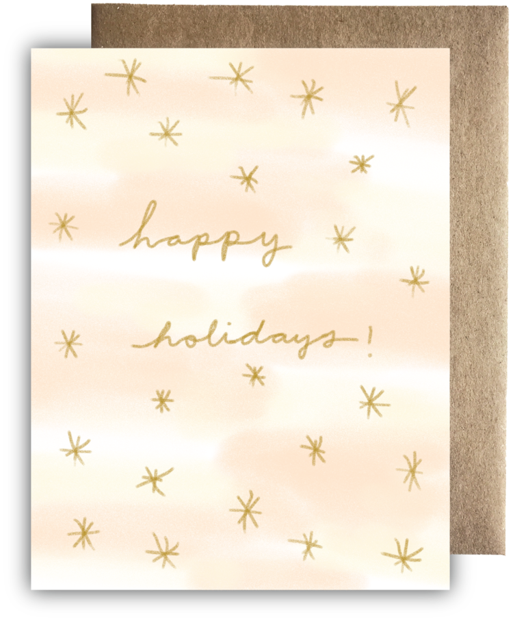 Starry Happy Holidays Recycled Paper Card