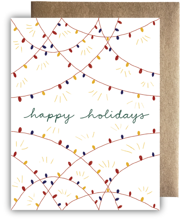 Happy Holiday Lights Recycled Paper Card