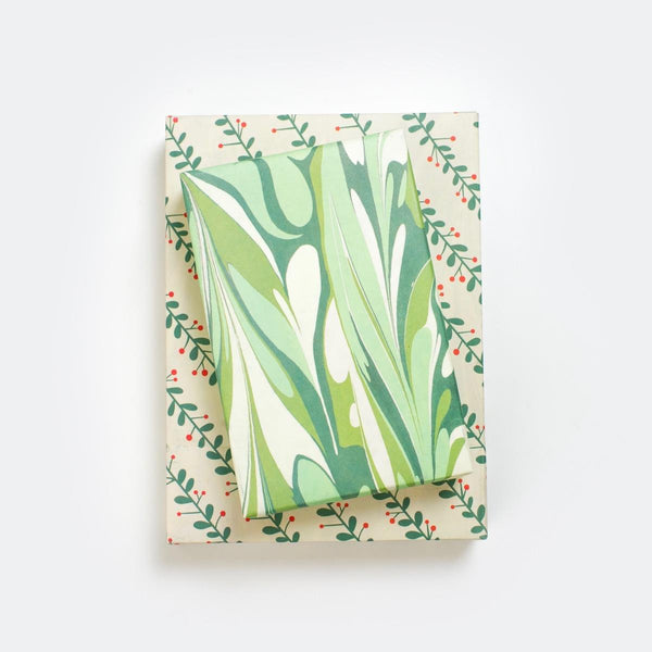 Eco Gift Wrap - Marbled/Mistletoe
