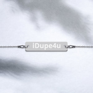iDupe4u Engraved Silver Bar Chain Bracelet