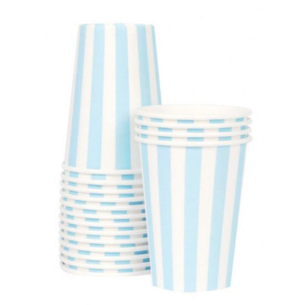 Paper cups - Baby blue and white.