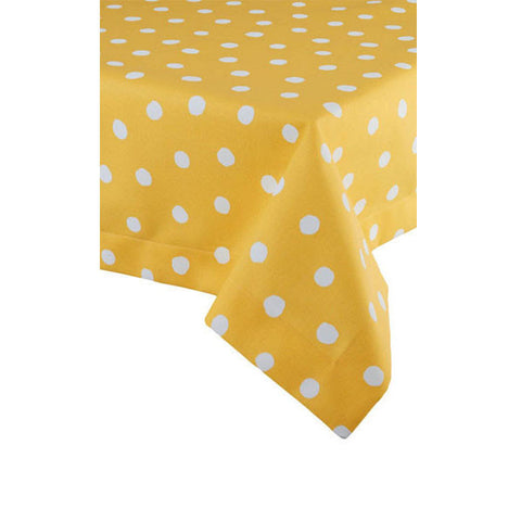 Oilcloth - Yellow & White Polka Dots