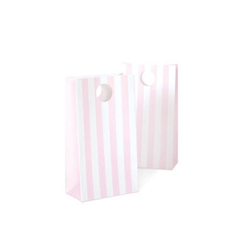 Party bags - pink and white stripe.