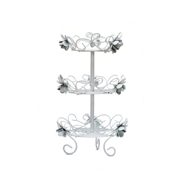 Cupcake stand - white with rose decoration - Double layer