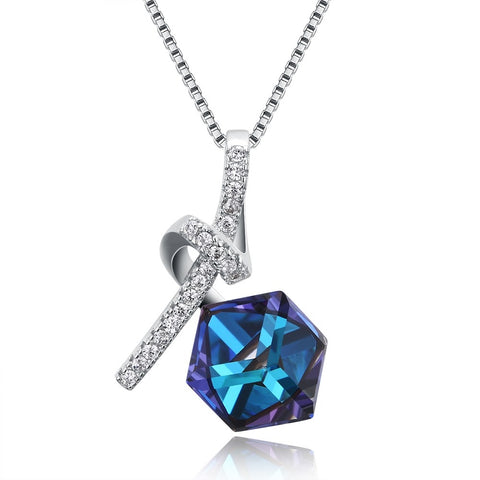 "Swarovski Crystal 925 Sterling Silver Capri Blue 16"" Necklace"