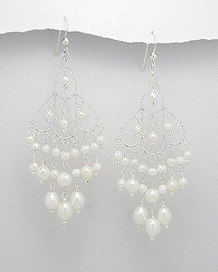 Sterling Silver Fresh Water Pearl Long Chandelier Earrings, White