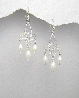 Sterling Silver Fresh Water Pearl Chandelier Earrings, White