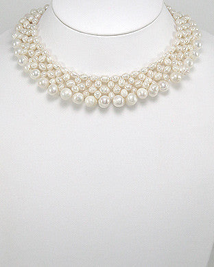 Natural White Cultured Fresh Water Pearl Choker Neckace
