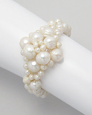 New Shaped White Cultured Fresh Water Pearl Bracelet