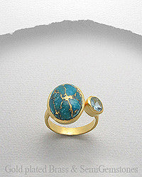 Rings, Turquoise Copper 18K Yellow Gold Matte Brass Ring