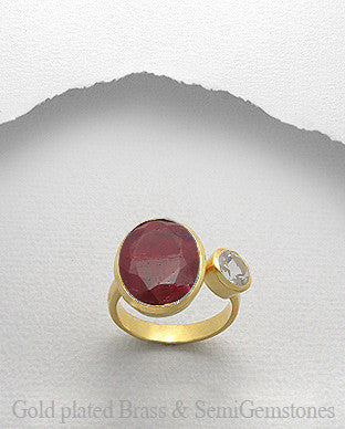 Ruby 18K Gold Matte Brass Ring, Castle Collection