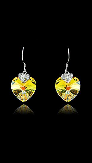 Swarovski Crystal Yellow Small Heart Earrings
