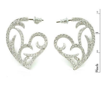 Platinum plated Gothic Heart Side Earrings