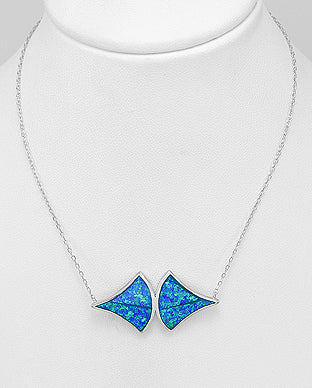 Modern Sterling Silver Lab Blue Opal Necklace