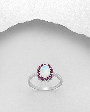 Designer Rhodolite Gemstone and Lab Created Opal Sterling Silver Ring