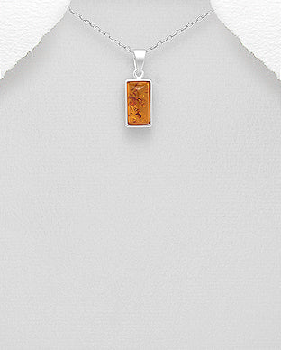 Pure Silver Rectangular Baltic Amber Pendant with 925 Italian Necklace